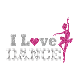 I Love Dance Ballet Girl Iron on Glitter Rhinestone Transfer Motif