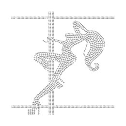 Crystal Pole Dancing Girl Iron on Rhinestone Transfer Decal