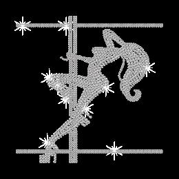 Crystal Pole Dancing Girl Iron on Rhinestone Transfer Decal