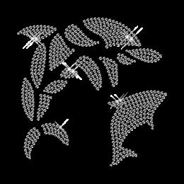 Best Custom Shinning Pure Crystal Dolphin Rhinestone Iron on Transfer Motif for Garments