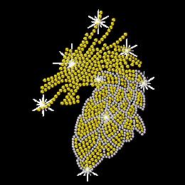 Rhinestone Crystal Yellow Dragon Iron on Transfer
