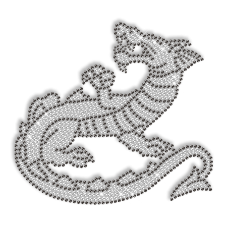 Sparkling Rhinestone Iron on Crystal Dragon Motif for Clothes