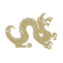Best Custom Cool Shinning Pure Gold Dragon Rhinestone Iron on Transfer Pattern for Garments