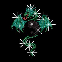Mysterious Dragon with Taiji Hotfix Rhinestone Custom for Garments
