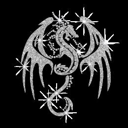 Bling Dragon Custom Ironon Glitter Motif for Clothes