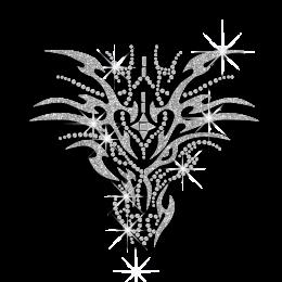 Cool Crystal Dragon Head Iron on Rhinestone Transfer for Man