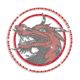 Beautiful Custom Dragon Head in a Circle Hotfix Rhinestone Transfer for Garments