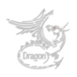 Cool Dragon With Dragon Words Iron-on Rhinestone Pattern for T-shirt