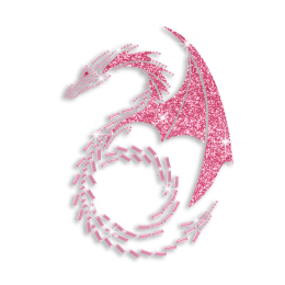 Pink Dragon Hotfix Rhinestone Transfer Custom for Garments