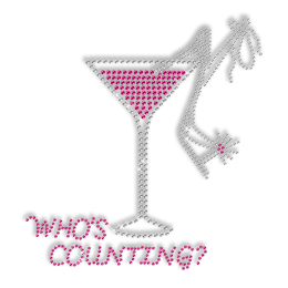 Crystal and Pink Rhinestone Drinks Iron ons