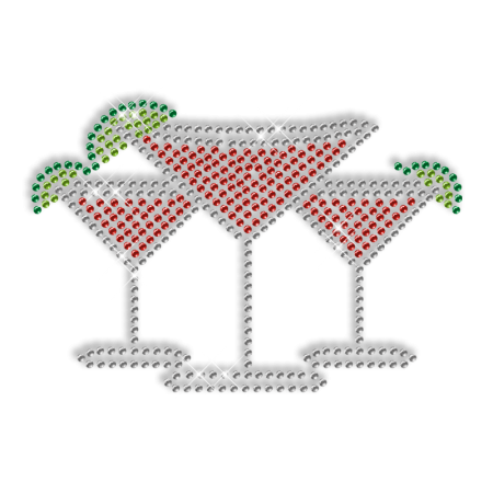 Shiny Rhinestone Drinks Transfer Iron ons