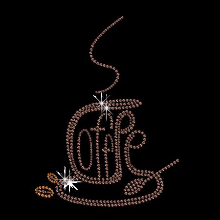 Shining Coffee Pot Iron Rhinestone Motif