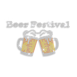 Fantastic Beer Festival Drink Iron-on Rhinestone Transfer Design
