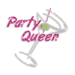 Party Queen Cocktail Drinks Iron-on Rhinestone Transfer