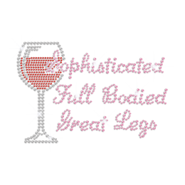 Sophisticated Wine for Valuable Moment Iron on Rhinestone Transfer