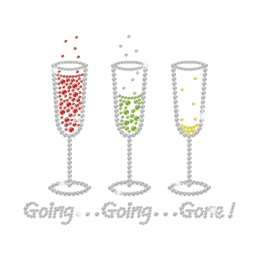 Funny Drink Till Out of Control Iron on Rhinestone Transfer