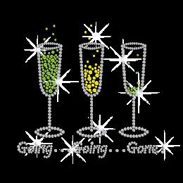 Drink Wine & Enjoy Life Iron on Rhinestone Transfer