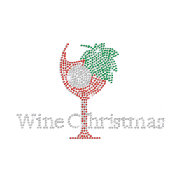 Wine Christmas Hotfix Rhinestone Transfer