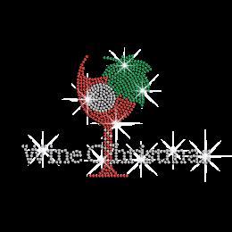 Wine Christmas Hotfix Rhinestone Transfer