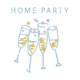 Home Party Iron on Rhinestone Transfer