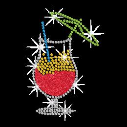 Glittering Wine in Crystal Goblet Iron on Rhinestone Transfer