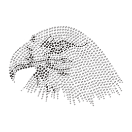 Keen Crystal Eagle Head Iron on Rhinestone Motif