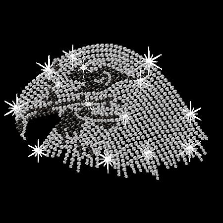 Keen Crystal Eagle Head Iron on Rhinestone Motif
