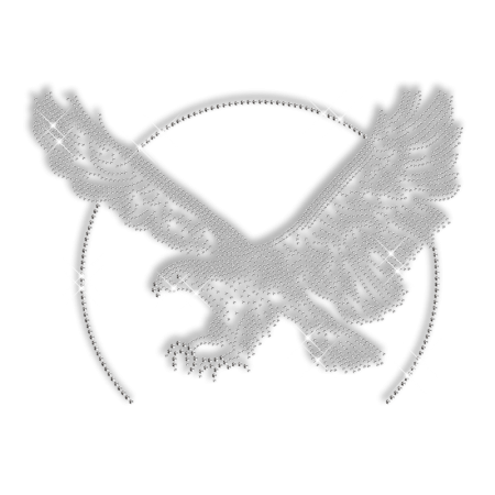 Shining Rhinestone Pure Crystal Eagle Iron on Transfer Motif for Clothes