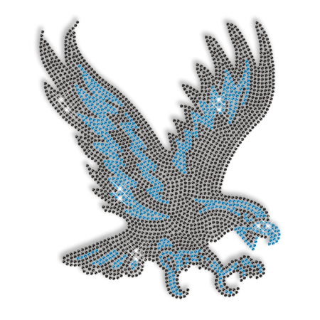 Rhinestone Blue and Black Prints Eagle Iron on Transfer Design for Clothes