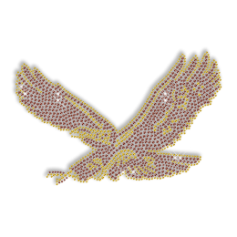 Shining Rhinestone Awesome Brown Flying Eagle Iron on Transfer Pattern for Clothes