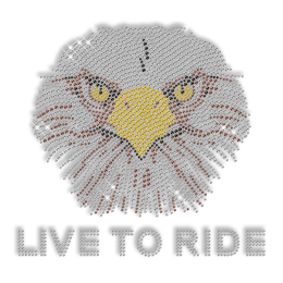 Shining Rhinestone Live to Ride Eagle Iron on Transfer Design for Clothes