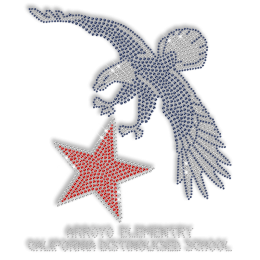 Shining Rhinestone Eagle with Red Star Iron on Transfer Design for Clothes