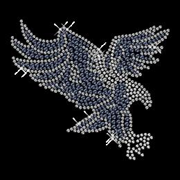 Shining Rhinestone Blue Flying Eagle Iron on Transfer Design for Clothes