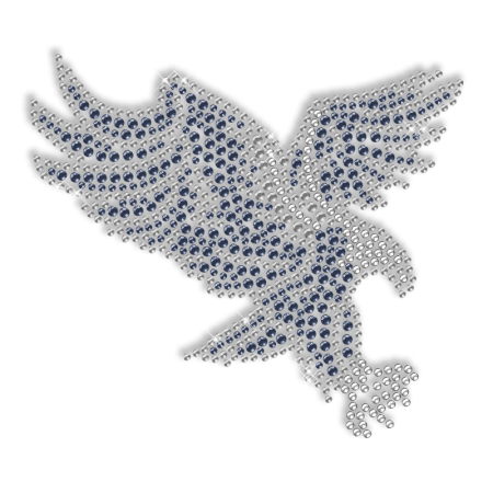 Shining Rhinestone Blue Flying Eagle Iron on Transfer Design for Clothes