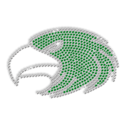 Shining Rhinestone Green Eagle Head Iron on Transfer Design for Clothes