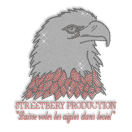 Shining Rhinestone Streetbery Production Red Eagle Iron on Transfer Design for Clothes