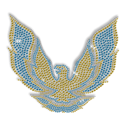 Best Custom Shinning Eagle in Blue and Yellow Rhinestone Iron on Transfer Pattern for Garments