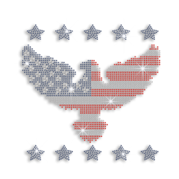 Eagle in American Shape with Star Ironon Rhinestone Transfer
