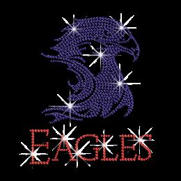 Beautiful Eagle with Words Hot-fix Rhinestone Motif Custom for T-shirt