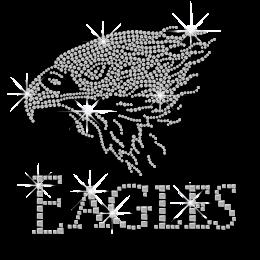 Shining Eagle with Words Hotfix Rhinestone Transfer for Man