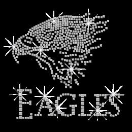 Bright Eagle with Word Ironon Rhinestone Design for Clothes