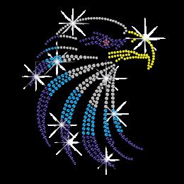 Colorful Eagle Customized Hotfix Rhinestone Motif for T-shirts
