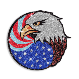 Shining Eagle with American Flag Hot-fix Glitter Transfer for Clothes