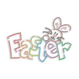 Cute Custom Easter Letters with Rabbit Hotfix C-sequin Transfer
