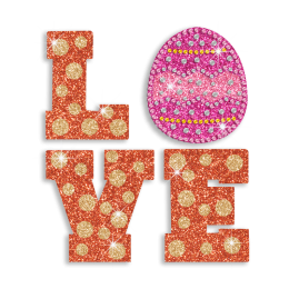 Hot Love with Egg letters Hot Fix Rhinestone Motif