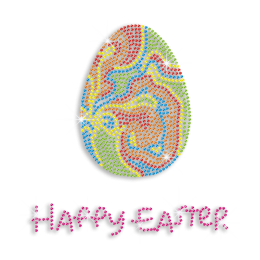 Easter Egg with Happy Easter Letters Hotfix Rhinestone Transfer