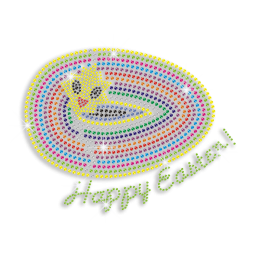Best Happy Easter Letters with Egg Hotfix Neon Rhinestud Design