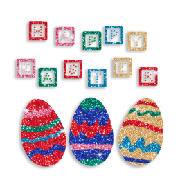 Happy Easter with Colorful Eggs Hot Fix Glitter Transfer