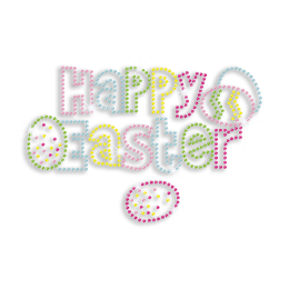 Happy Easter Letters with Eggs Rhinestone Iron ons