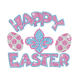 Happy Easter Eggs & Fleur De Lis Iron on Rhinestone Transfer